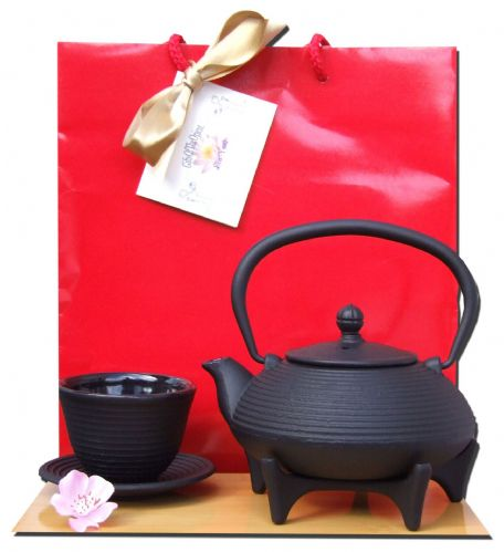 Gift Bag - Cup Star Trivet 125 & Cast iron black Zen Ripple tea pot kettle 0.4 litre - a one person